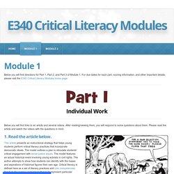 Module 1 - E340 Critical Literacy Modules
