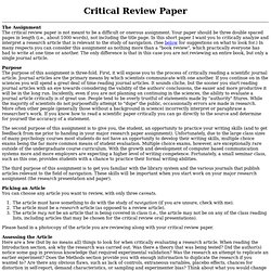 critical appraisal research papers Critical appraisal charlene clark loewenberg school of nursing abstract the purpose of this critical appraisal is to review a particular recent research.