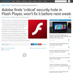 Adobe finds critical security hole in Flash Player, wont fix it before next...
