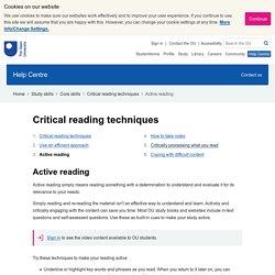 Critical reading techniques: Active reading