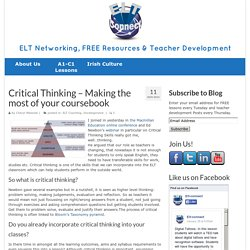 Critical Thinking - Making the most of your coursebook - ELT Connect