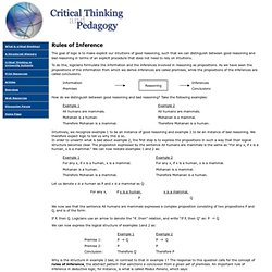 Critical Thinking and Pedagogy: Rules of Inference