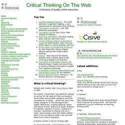 Critical Thinking On The Web