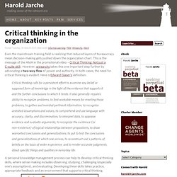 Critical thinking in the organization