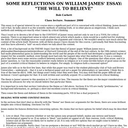 Critical Thinking Course: Corbett essay: Reflections on William James' essay