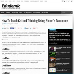 How To Teach Critical Thinking Using Bloom's Taxonomy