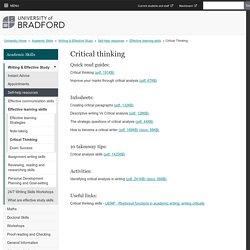 Critical Thinking - University of Bradford