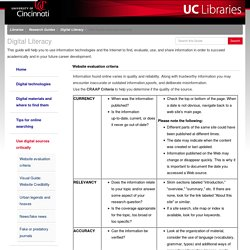 Use digital sources critically - Digital Literacy - Research Guides at University of Cincinnati