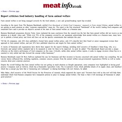 MEAT INFO 26/07/13 Report criticises food industry handling of farm animal welfare