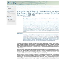Criticism of Cataloging Code Reform, as Seen in the Pages of Library Resources and Technical Services (1957–66)