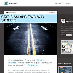 Criticism and Two Way Streets