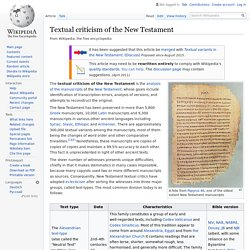 Textual criticism of the New Testament - Wikipedia