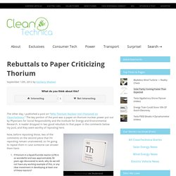 Rebuttals to Paper Criticizing Thorium