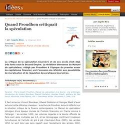 Quand Proudhon critiquait la spéculation - La vie des idées