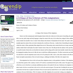 A Critique of the Criticism of Film Adaptations