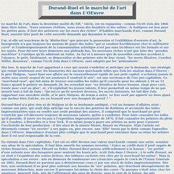 Emile Zola critique d'art : Durand-Ruel et le marché de l'art dans L'OEuvre