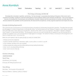 The Critique of Everyday Life – Syllabus – Anna Kornbluh