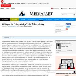 """Critique de """"Lévy oblige"""", de Thierry Lévy"""