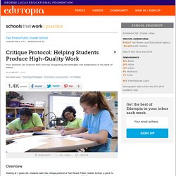 Critique Protocol: Helping Students Produce High-Quality Work