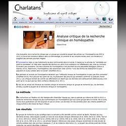 Analyse critique de la recherche clinique en homéopathie