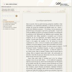 «La critique spontanée» — Physiologie de la critique