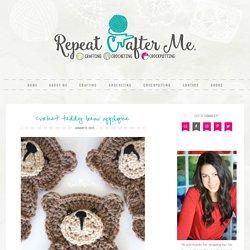 Crochet Teddy Bear Applique - Repeat Crafter Me