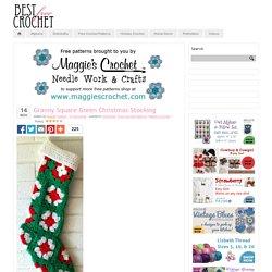 Granny Square Green Christmas Stocking
