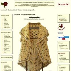 Le crochet - modèle gratuit de veste longue en forme de pentagone - Avec manches en option.
