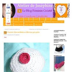 Crochet / Bonnet Bébé en Mérinos gris perle
