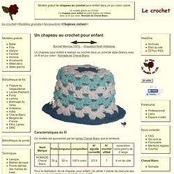 modèle gratuit de chapeau au crochet pour enfant dans un pur coton coloré.