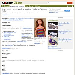 "Crochet: Rainbow Strapless Top For 11.5"" Fashion Dolls"