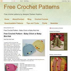 Free Crochet Pattern - Baby Chick or Baby Bird Hat