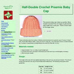 Half-Double Crochet Preemie Baby Cap - Free Pattern - Handcrafting With Love