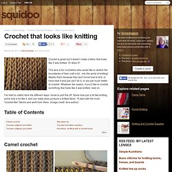 Crochet that looks like knitting