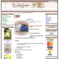 Thick Warm Crocheted Winter Hat : Crochet Garden!, Boutique Quality Patterns