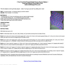 FREE Crocheted Purple Delight Granny Square Afghan Pattern from Craft Designs for You
