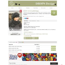 """A set of: Crocheted DROPS beret in """"Alaska"""" and knitted scarf in """"Puddel"""