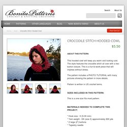 Crocodile Stitch Hooded Cowl by Bonita Patterns