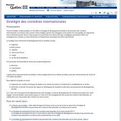 Stratégie des croisières internationales - Tourisme Québec