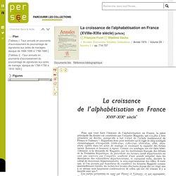 FURET F., SACHS W. - La croissance de l'alphabétisation en France (XVIIIe-XIXe siècle) - Annales. Économies, Sociétés, Civilisations