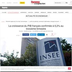 La croissance du PIB français confirmée à 0,2% au troisième trimestre