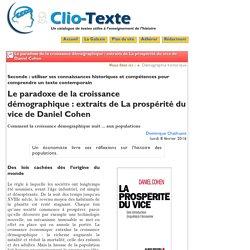 Le paradoxe de la croissance démographiqu - Clio Texte