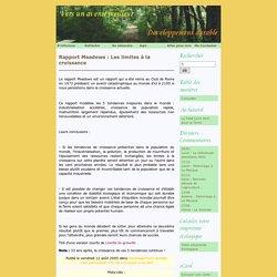 Rapport Meadows : Les limites à la croissance - Développement durable..vers un avenir meilleur