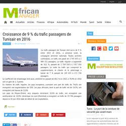 Croissance de 9 % du trafic passagers de Tunisair en 2016