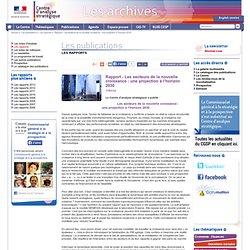 Rapport - Les secteurs de la nouvelle croissance : une projection à l'horizon 2030