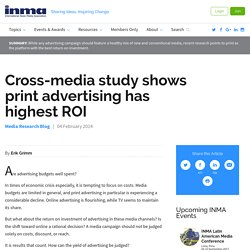 INMA: Cross-media study shows print advertising has highest ROI