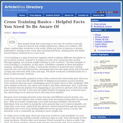 Cross Training Basics - Helpful Facts You Need To Be Aware Of