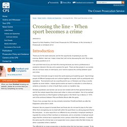Crossing the line - When sport becomes a crime