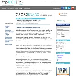 CrossRoads - 8 Questions to ask Yourself Before You Apply -Part 1