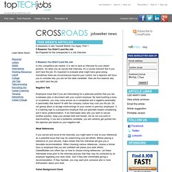CrossRoads - 5 Reasons You Didn't Land the Job